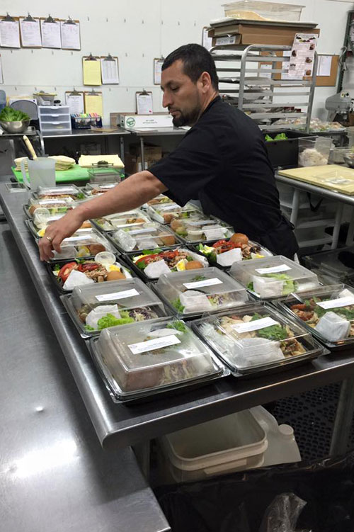Putting together box lunches