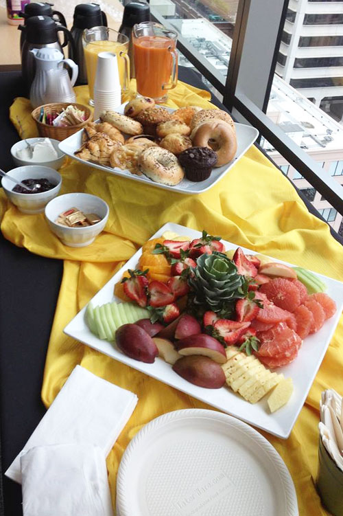 Coffee, bagels and fruit platter