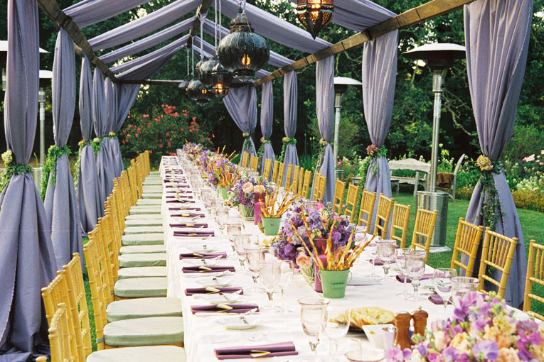 Table setup with flowers and decor.