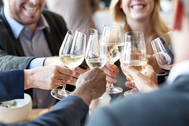 Wine and Cheers at a Corporate Event