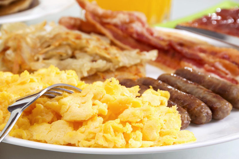 All American Breakfast Buffet with Eggs, Bacon, Potatoes and Fruit
